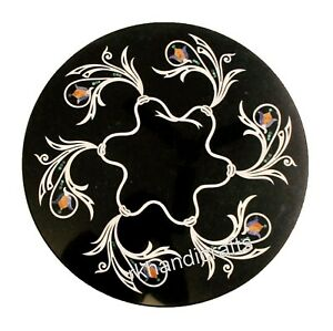 13 Inches Luxurious Pattern Inlay Coffee Table Top Black Marble Corner