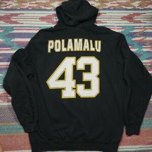 Pittsburgh Steelers Troy Polamalu Hoodie Adult Large Black Football NFL Mens