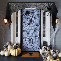 Black Spider Cobweb Halloween Decoration Spiderweb Party Lace Table Decor Web