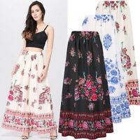 Women Boho Maxi Skirt Beach Floral Holiday Party Summer High Waist Long Skirt
