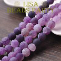 30pcs 8mm Round Natural Stone Loose Gemstone Beads Purple Efflorescent Agate