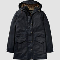 $598 Filson Women's Blue Waxed Cotton Water-Resistant Hooded Rain Coat Jacket M