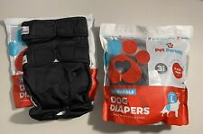 Pet Parents Washable Dog Diapers Male/Female Large Black New 3-pack Plus 2 New
