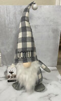 "Rae Dunn CHRISTMAS ""Joyful"" White and Gray Plaid Gnome. HTF!"