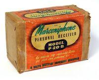VINTAGE PORTABLE VALVE RADIO MARCONIPHONE PERSONAL RECEIVER P20B + ORIGINAL BOX