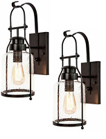 2 Rustic Wall Sconce Lanterns in Rubbed Bronze by Muskoka Lifestyle Products USA