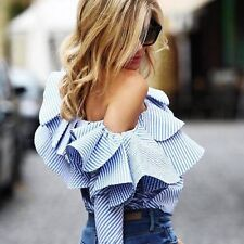 Fashion Women Off-shoulder Long Sleeve Casual Blouse Loose Cotton Tops T-Shirt