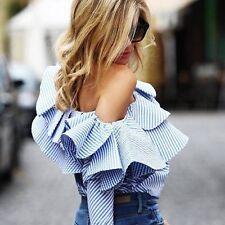 Fashion Women Off-shoulder Long Sleeve Casual Blouse Loose Cotton Tops T-Shirt L