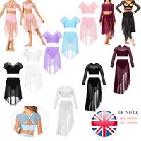 UK Kids Girls Ballet Dance Dress 2Pcs Gymnastics Crop + Mesh Maxi Skirt Outfits