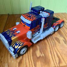 "Optimus Prime Transformer Semi Truck with Sounds & Lights 2010 Hasbro 11"" Long"