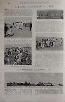1898 Boer War Era Impresión ~ Francés Bathing Parade Nursemaid Nado ~