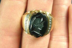 10K Yellow Gold Men's Intaglio Hematite Roman Soldier Ring w/ Diamond Accents