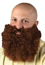 Fun World Brown Big & Curly Bushy Mustache and Beard Facial Hair Set