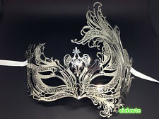 Luxury Angel Silver Metal Filigree Venetian Masquerade Phoenix Mask w/Rhinestone