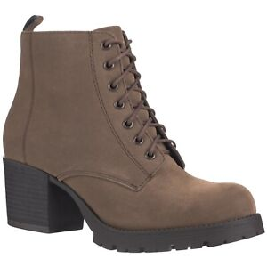 NEW Women's Combat Boot Bootie Casual Lace Up Closed Round Toe Chunky Heel Boots