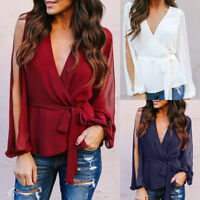 Lady Women Split Sleeve Casual V Neck Loose Blouse Tops Summer OL Work T Shirts