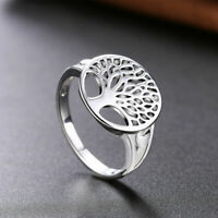 New Women Jewelry 925 Sterling Silver Plated Size 9 Leaf Tree Heart Ring Finger