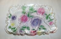 "Glass Spring Floral Serving Plate Tray Platter 13 1/8"" L 10"" W"