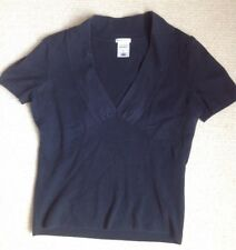 LOVELY BLACK COTTON TOP WITH DEEP V-NECK AND SHORT SLEEVES
