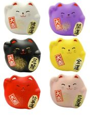 SET of 6 Japanese Maneki Neko Lucky Welcome Cat Brings Good Luck Made in Japan