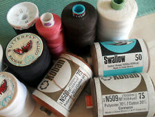 SEWING MACHINE COTTON THREAD 10 REELS ASSORTD  MAKES COLOURS UNUSED PART USED M9