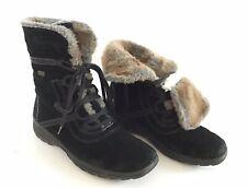 Ladies Rieker Tex Black Suede Fur & Fleece Lined Boots - Size 3/36