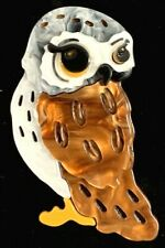 COSTUME BROOCH - HANDMADE ACRYLIC RESIN OWL BIRD - NEW - NEVER WORN.