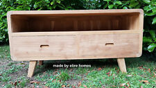 Natural TEAK WOOD English Elizabethan paneled  Wide TV Stand sideboard unit