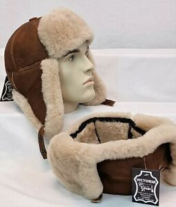 COGNAC GINGER 100% Sheepskin Shearling Leather Hat Trapper Ushanka Hunting M-3XL