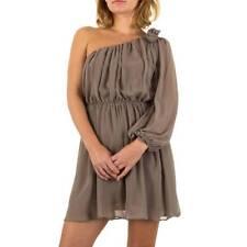 TAUPE (GREY / BROWN) ASYMMETRICAL ONE SHOULDER CHIFFON DRESS BY USCO SIZE 12