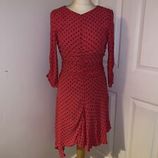 Zara BNWT Hot Pink Spotty Polkadot Ruched Asymetric Hem Dress XS