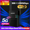 300/1200Mbps Dual Band 5G Wifi Extender Repeater Range Booster Wireless Router