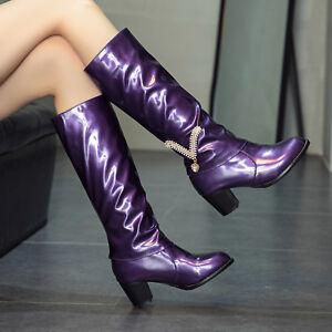 Modern Wadenhohe Stiefel Damen Boots Hoch Blockabsatz Schuhe Gr:34-48 Plus Size