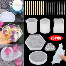 26pcs Epoxy Resin Mold Silicone Casting Mould Making DIY Cup Pen Candle Ashtray