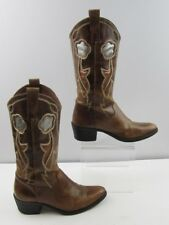 Ladies Brown Leather Cowgirl Boots Size : 6.5 M
