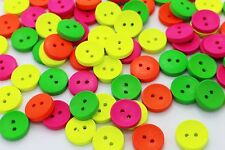 Neon Colors Wooden Button Sewing Pink Green Yellow Orange Wood Bead 15mm 20pcs