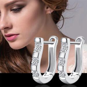 925 Sterling Silver Jewelry White Gemstone Stud Hoop Earrings UK Seller