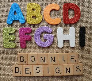 GLITTER FOAM x26 LETTERS ALPHABET 4cm die cuts Personalise Kids Crafts VARIOUS