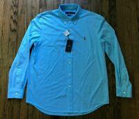 NWT Ralph Lauren Mens Knit Oxford Fit Long Sleeve Button Front Shirt Size XL