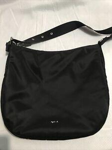 Agnes b Nylon Hobo Bag Black Color Large Size New