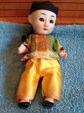 Vintage Oriental Bisque & Composition Squeaker Doll w Sleep Glass Eyes 1940's?