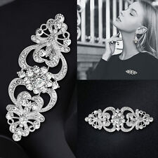"3.15"" Large Silver Flower Diamante Crystal Pin Brooch Wedding Art Vintage Broach"