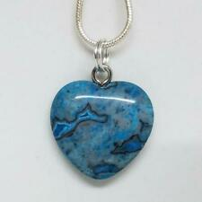Blue Crazy Lace Agate Small Heart Necklace, Crystal Heart Pendant Necklace 18""