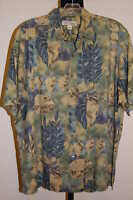 Tori Richard Mens Lg Hawaiian Shirt Tan Leaves Green Background Blue Ferns DS26