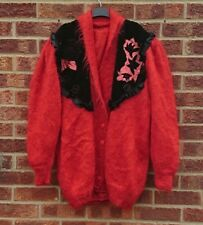 Vtg red fluffy cardigan knitted mohair black suede embroidered wool jacket coat