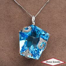 Estate Diamond 130.81ct Blue Topaz 18K Gold Large Filigree Pendant 39.2 NR