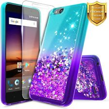 For ZTE ZFive C / ZFive G Case Liquid Glitter Bling Phone Cover + Tempered Glass
