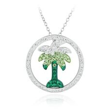 Crystal Palm Tree in Cricle Necklace with Swarovski Elements