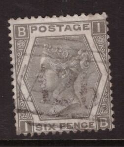 1872 6d Grey   SG 125  USED ABROAD A26 GIBRALTAR IB