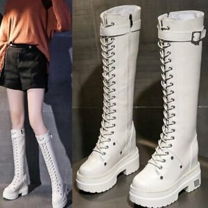 Knee High Boots Women Winter Warm Lace Up Platform Wedge Military Riding Boots